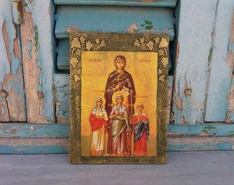Saint St Sophia the Martyr, Faith, Hope, Charity, Christian Saints, Holy Wisdom, Divine Wisdom, Religious Wall Art, Religious Home Decor