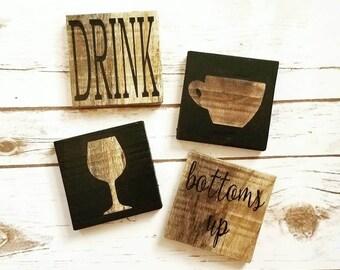 Decorative coasters (set of 4), Rustic Coasters, Wooden Coasters