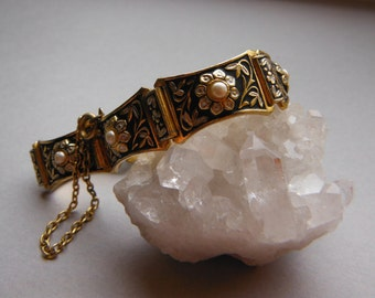 Damascene and Glass Seed Pearl Floral Link Bracelet