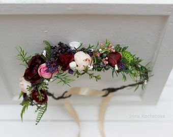 Green floral crown Beige burgundy marsala flower crown Bridal flower wreath Wedding halo Bridesmaid headpiece Woodland wedding Greenery