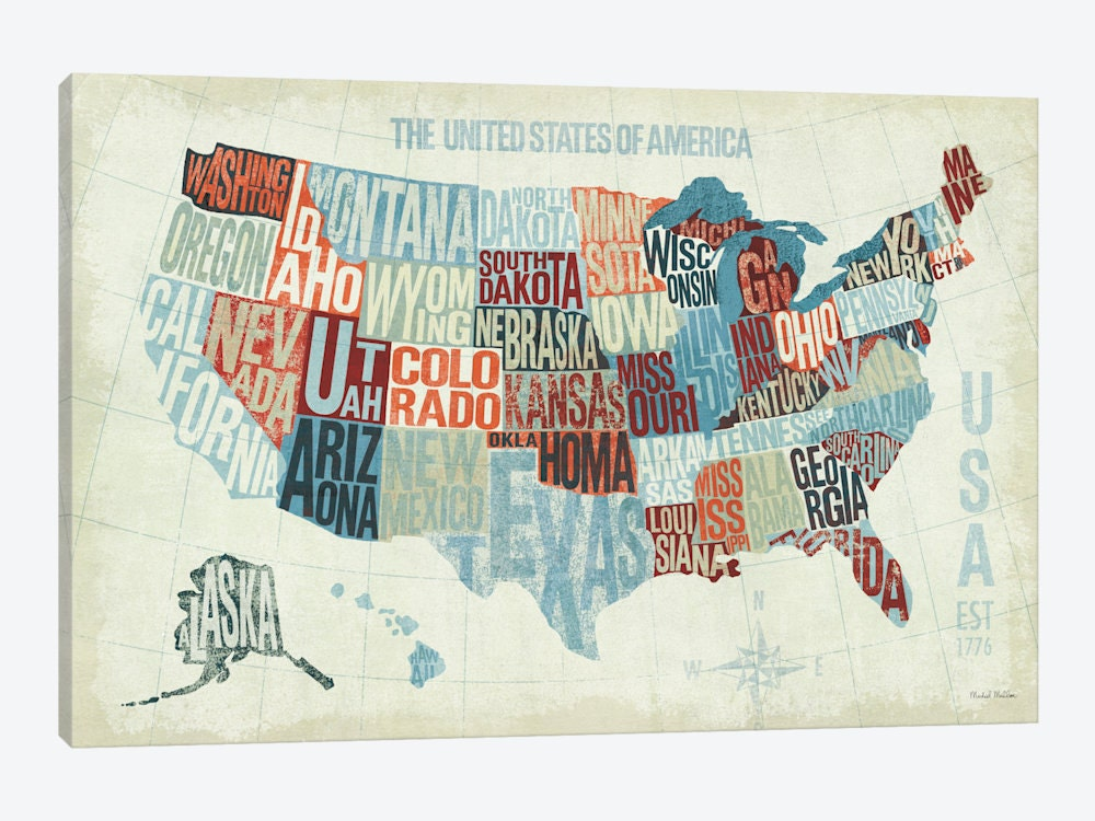 United States Map Art Print United States Art Print USA Map - Us map to print