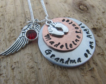 Grandma of an Angel//Miscarrriage jewelry//Stillborn gift//Baby loss//handstamped personalized necklace//Sypathy gift//Loss of child