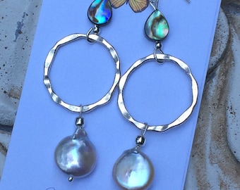Hammered silver hoops, pearl earrings, abalone, silver and pearl, dangle earrings, long earrings