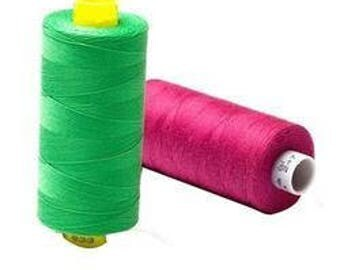 Green & Pink Polyester Sewing Thread, SET A 2 Thread Spools on 1000 Yard Spool Handicrafts