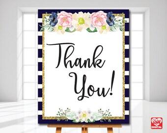 Printable Wedding Thank you Sign | Navy Stripes Whimsical sign | Printable Bridal Shower Sign | 8x10, Instant Download | JPG