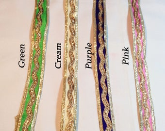 Beautiful Velvet Ribbon with Gold Rick Rack Details - 2.5 cm wide