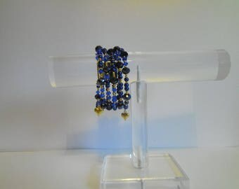 Dark Blue and Gold memory wire necklace.