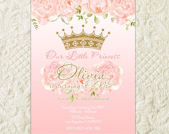 Princess Birthday Invitation, Pink And Gold Princess Invitation, Princess Birthday Party Invitation, Crown Birthday, Royal Celebration
