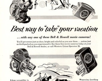 1953 Bell & Howell movie camera and projector collectible vintage magazine ad wall decor camera shop