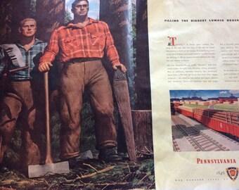 """1946 Pennsylvania Railroad """"Lumber Jacks"""" Double Page vintage magazine ad  (LG)"""