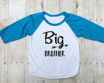 Big Brother Shirt-New Baby Shirt-Baby Announcement Shirt-Pregnancy Reveal Shirt-Big Brother Shirt-Big Brother Raglan-Navy Blue-Made in USA