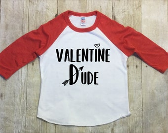 Boys Valentine Shirt-Valentines Dude Shirt-Red Raglan Sleeve Shirt-Toddler Valentine Shirt-Black Raglan Valentine Shirt