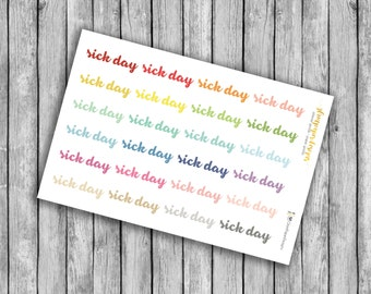 Rainbow Sick Day Planner Stickers