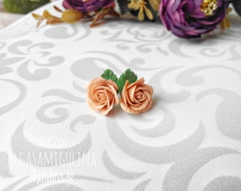 Roses stud earrings, handmade roses, clay rose, handmade earrings, flower jewelry, flower earrings, rose earrings, beautiful jewelry.