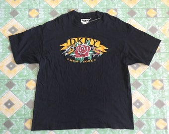 Vintage 90's DKNY Donna Karen New York True and Love Flower Spellout Big Logo Shirt