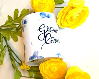 Grow Love coffee mug with hand-painted violets