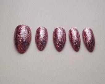 Rose Gold Glitter nails | Rockstar Nails | Custom made press on nails | Little Pretty Nails