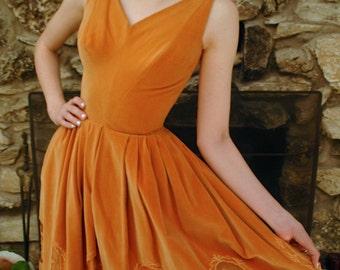 Velvet Orange Evening Dress