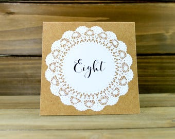 Table Number Tent, Rustic Table Number, Lace Wedding, Rustic Wedding, Kraft Wedding, Kraft Table Number, Table Number Tent (01-0001-011)