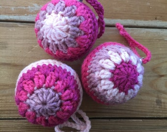 Handmade Crochet shades of pink Retro Christmas Baubles Set of 3