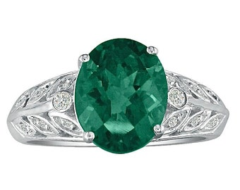 14K White Gold 1 1/2CT Genuine Oval Emerald And Diamond Ring, Available In Sizes 4 - 9.5