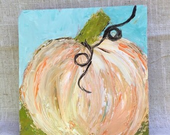 "Pumpkin painting on 6x6 wood panel 1.5"" thick"