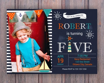 Nautical 5th Birthday Invitation - Fifth Birthday invites - Nautical Party with photo - Sailor Birthday Invite - DIY digital