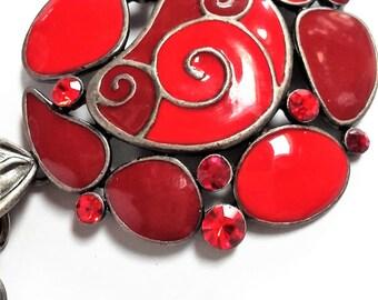 Red spiral enamel necklace