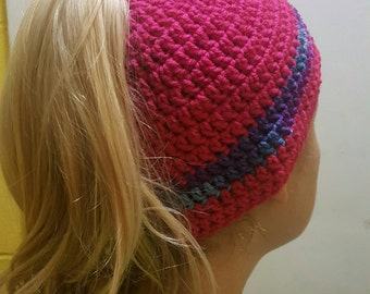 Crocheted messy bun/ ponytail hat
