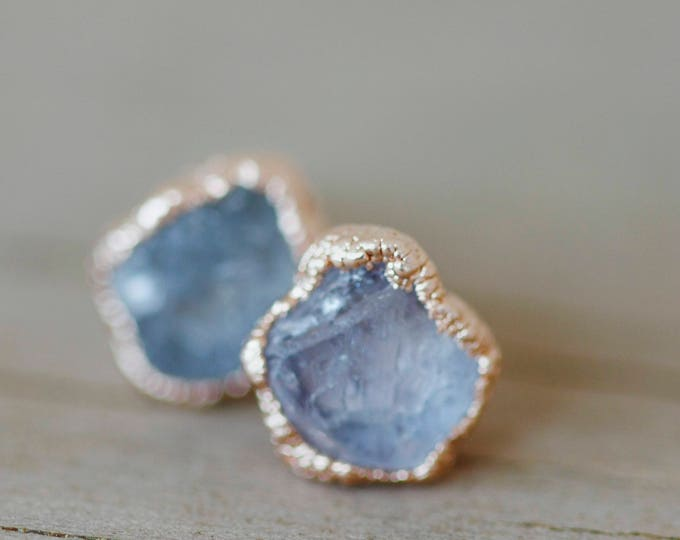 Rose Gold Sapphire Earrings // September Birthstone