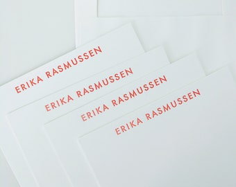 Custom Letterpress Stationery | Personalized Name Note Cards | Set of 100