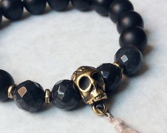 Agate Gemstone and Antique Gold Skull Bracelet, tassel bracelet, gold bracelet, men's bracelet, women's bracelet, gift for her, gift for him