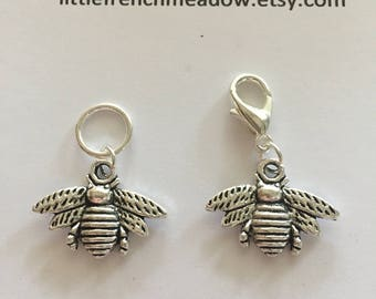 5 Bee Stitch markers - solid rings or lobster clasps