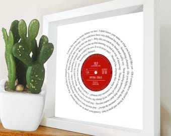 Any Song Lyrics | MR & MRS WEDDING Gift Personalised | First Dance, Our Song, Favourite song words | Fully Framed Vinyl Record Label design