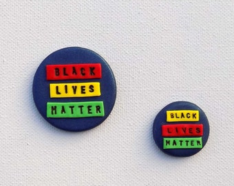 Black Lives Matter Pin, Hand Sculpted Pin, Our Revolution Pin, Freedom Pin, Against Racism Pin, No Rasism Button, Civil Rights Pin
