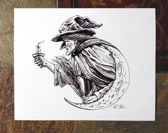The Witch, Salem, MA, Pen and ink drawing, illustration, 8x10 print, archival, black and white print