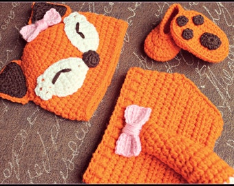 Crocheted Baby Girl Fox Photo Prop Set, Baby Girl Fox Hat, Fox Hat, Fox Tail, Fox Booties, Crochet Hat, Baby Hat, Diaper Cover