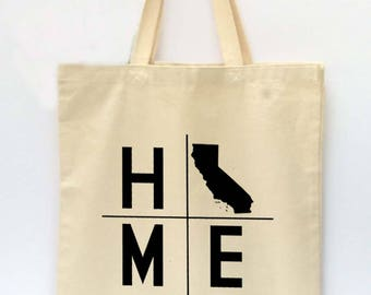 State Tote Bag, California Tote, Reusable Grocery Bag, Market Tote Bag, Teachers Gift, Canvas Tote Bag, Printed Tote Bag, Shopping Bag