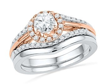 0.88 CT. T.W. Two Tone Halo Engagement Ring Set, Diamond Bridal Set In Sterling Silver or Two Tone Gold