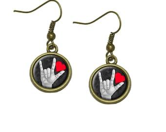 I Love You Sign Language Dangle Dangling Drop Earrings
