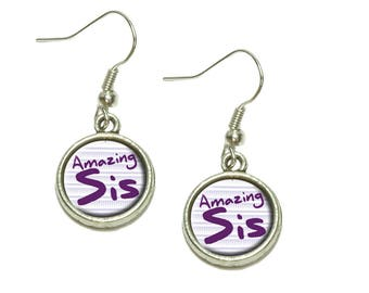 Amazing Sister Dangling Drop Charm Earrings