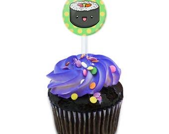 Cute Sushi Cake Cupcake Toppers Picks Set