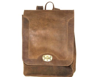 Briefcase Box Backpack With Brass Clasp | Stressed Hunter Leather