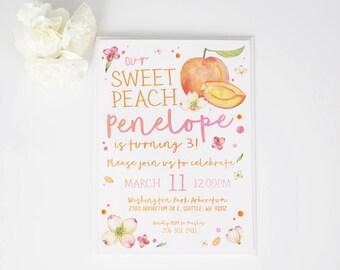Our Sweet Peach Watercolor Birthday Invite | invitation | Photo