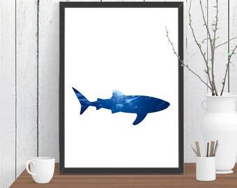 Large Shark Print, Nautical Print, Animal, Room Decor, Ocean, Wildlife, Minimalist, Poster, Child Baby Nursery A3 A2 11x14 12x18 16x20