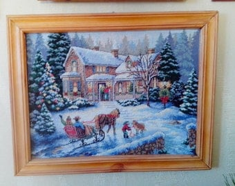 Christmas, Embroidered Picture, Hand Embroidered Art, Home design, Cross-stitch, NOT FRAMED