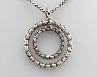 "David Yurman Double Circle Box Chain Pendant & 15"" Box Chain Necklace"