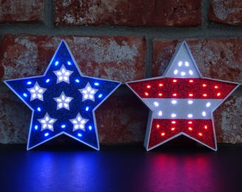 4th of July Decor - Patriotic Decor - Stars and Stripes - Red White & Blue Lighted Decorative Stars - 5.5 Inch - American Decor