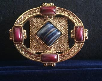 Vintage Detailed Oval Large Pin With Red and Blue Stones Brooch Pin