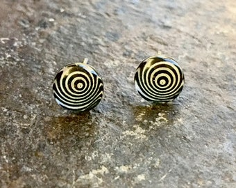 Black And White Earring Studs//Hypnotic Earrings//Hypnosis Earring Studs//Strange Earrings//Weird Earrings//Small 8 mm Earring Studs